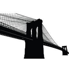 New York Brooklyn Bridge Black Silhouette vector image vector image