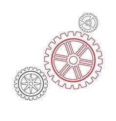 Gears set stroke vector image vector image