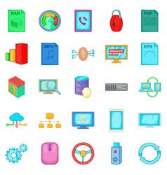 Literacy icons set cartoon style vector