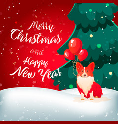 new year flat with red dog vector image
