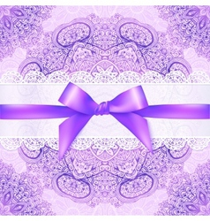 Violet lacy greeting card cover with purple ribbon vector image
