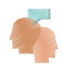 drawing profile heads talking vector image
