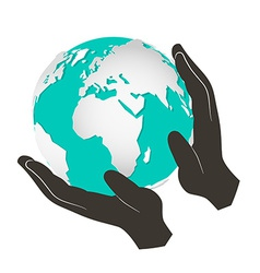 Globe - Earth in Hands Isolated on White Bac vector image