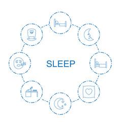8 sleep icons vector