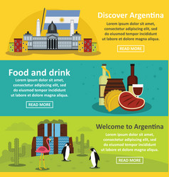 Argentina travel banner horizontal set flat style vector