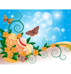 background with butterflies and flowers vector image