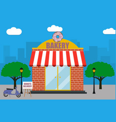 bakery shop building with signboard with donut vector image