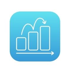Bar chart upward line icon vector image