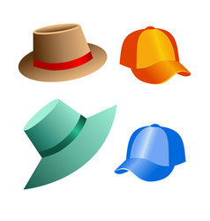 Beach hats and caps for decoration of postcards vector