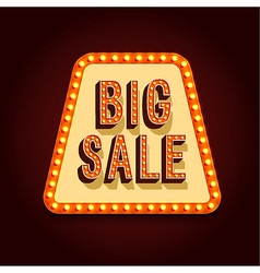 Big Sale Banner With Light Bulbs vector image