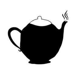 Black silhouette hand drawn with teapot of coffee vector