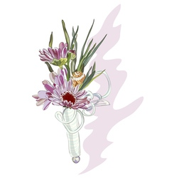 Boutonniere with a pink chrysanthemum and shell vector