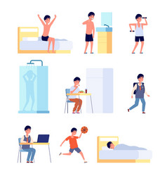 Boy daily activities kid hygiene smiling active vector