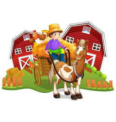 Boy on horse wagon vector