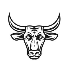 bull head in vintage style vector image