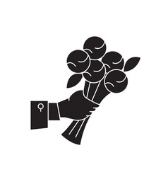 bunch of flowers black concept icon bunch vector image
