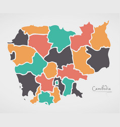 cambodia map with states and modern round shapes vector image