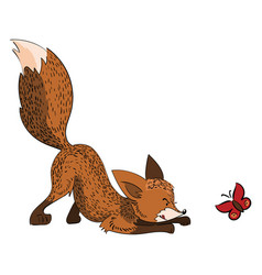 cartoon fox hunts a butterfly a stylized fox is vector image