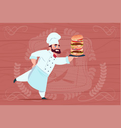 chef cook hold big burger smiling cartoon vector image