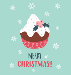 christmas card with cute pudding vector image