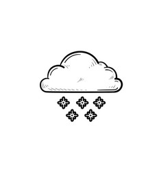 cloud with snow hand drawn outline doodle icon vector image