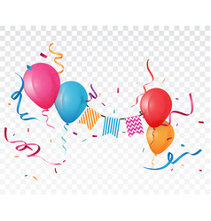 colorful birthday balloon and confetti vector image