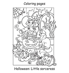 coloring halloween cute little witch with cat vector image