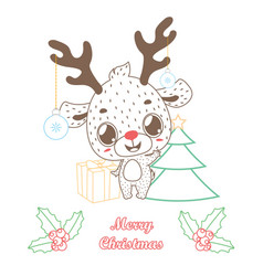 cute reindeer greeting with outline style vector image