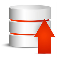 Cylinder with red upload arrow vector