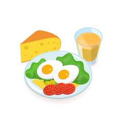 delicious healthy breakfast consisted of boiled vector image