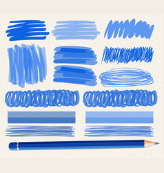 Different brushstrokes blue ink vector