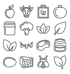 farm and organic food icons set line style vector image