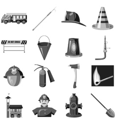 Fire safety icons set gray monochrome style vector