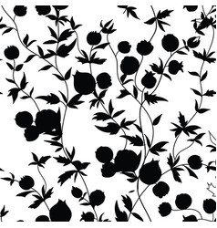 floral seamless pattern flower silhouette garden vector image