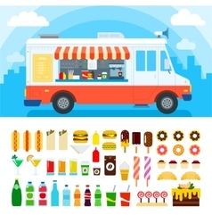 Food truck with snacks and confectionery vector image