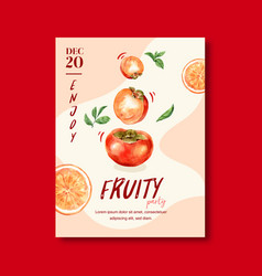 Fruits themed frame design with persimmon vector