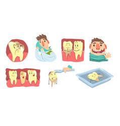 funny cartoon humanized sick and healthy teeth vector image