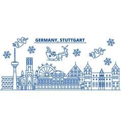 Germany stuttgart winter city skyline merry vector