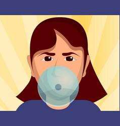 girl bubble gum concept background cartoon style vector image