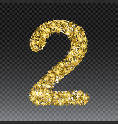 Gold glittering number two shining golden vector