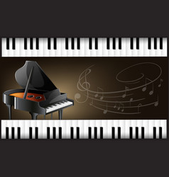 grand piano with keyboards and musicnotes vector image