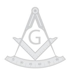 Gray masonic square and compass symbol vector