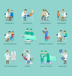 group doctors banner in cartoon style vector image