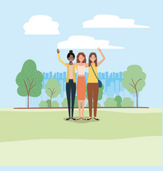 group of business woman on the park vector image