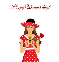happy womens day greeting card with cute girl in vector image