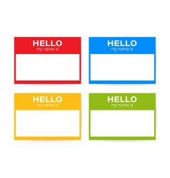 hello my name is name tag set label sticker vector image