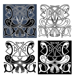 Heron birds with celtic knot patterns vector image