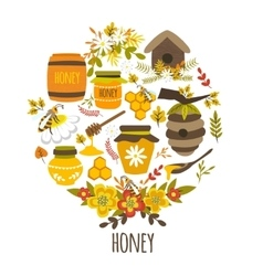 Honey Hand Drawn Round Design vector image