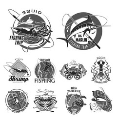 Icons set for fishing or fisher trip vector