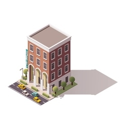 Isometric hostel building vector